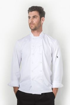 Get a clean and crisp look with Alexandros which is made in a Cooltex fabric keeping you fresh in the heat of the kitchen. Asymmetrical Design, Chef Jackets, Contrast, Paris, Elegant, Long Sleeve, Sleeves, Cotton, Fashion