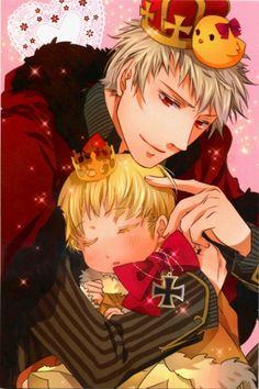 ChibiGermany and Prussia, Germany looks so content in Prussia's arms >//////