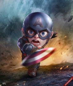 Captain America: Mini Avengers Series by Kuchu Pack Marvel Dc Comics, Marvel Avengers, Avengers Series, Marvel Art, Marvel Heroes, Marvel Movies, Cartoon Cartoon, Comic Books Art, Comic Art