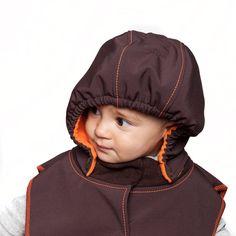 Baby Hood & Neck Warmer - Brown-orange  #liliputistyle #babyhood #babywearingcoat