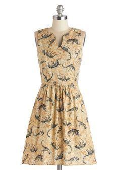 Dino Bones About It Dress - Tan, Black, Print with Animals, Pockets, Casual, Quirky, Critters, A-line, Sleeveless, Better, V Neck, Mid-length, Cotton, Knit, Nifty Nerd