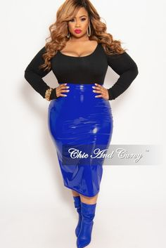 e0ac0f2fb50 Final Sale Plus Size Patent-Leather Pencil Skirt with Gold Back Zipper and  Bottom Slit in Royal Blue