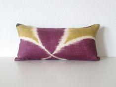Decorative pillow cover - Mini Lumbar PIllow 8x16 - Plum Purple - Chartreuse -  Ikat - Suzani - Lumbar Pillow