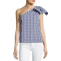 Milly Cindy One-Shoulder Gingham Shirting Top (15.095 RUB) ❤ liked on Polyvore featuring tops, navy, navy gingham shirt, off one shoulder tops, navy blue shirt, sleeveless tops and sleeveless shirts