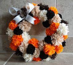 "Monochromatic 12"" FALL Yarn Pom-Pom Wreath $30.00"