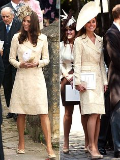 BIRGER ET MIKKELSEN COAT   The Duchess of Cambridge first wears this embroidered ivory coat with cutout heels and a feathered hat to a friend's wedding in 2006. She then gussies it up for the July nuptials of her husband's cousin Zara Phillips by adding a custom Gina Foster hat and her trusty L.K.