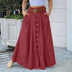 Maxi Skirt Outfits, Maxi Skirt Black, Womens Maxi Skirts, Plus Size Long Dresses, Long Skirts For Women, Short Sleeve Dresses, Cheap Skirts, Cute Skirts, Red Skirts