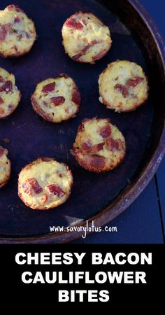 Cheesy Bacon Cauliflower Bites (grain and gluten free) - requires a food processor Banting Recipes, Paleo Recipes, Low Carb Recipes, Real Food Recipes, Cooking Recipes, Yummy Food, Ketogenic Recipes, Tasty, Paleo Appetizers
