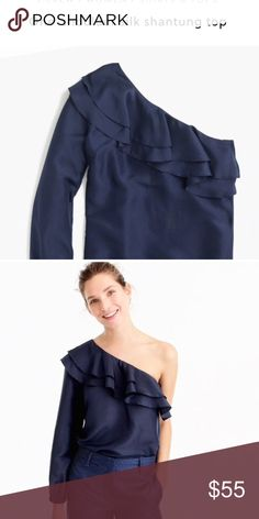 One Shoulder Silk Shantung Top A one-shoulder top in a pretty silk fabric is the perfect dressy pick for all your weekend plans.  Silk. Dry clean. J. Crew Tops Blouses