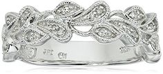 Sterling Silver Leaves Diamond Band 110 cttw IJ Color I2I3 Clarity Size 7 * Learn more by visiting the image link.