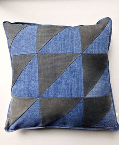 Half and Half recycled denim pillow cover by WiseCrafthandmade, $50.00 Looks like beautiful workmanship. Think about it done with denim and upcycled leather!