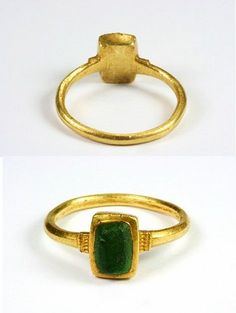 Bague en or et pâte de verre - 12-13ème siècle - Europe occidentale Medieval Gold Ring with Glass Imitating Emerald, 12th or 13th Century