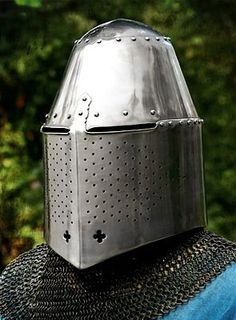 Great Helm. Worn over a bascinet with mail coif or a smaller helmet to provide the best head protection possible. From the middle of the 14th century, this type of helmet became increasingly popular among the warrior class throughout Europe.Examples of this type of helmet are on display at the Royal Armory in Leeds and the Royal Scottish Museum in Edinburgh.