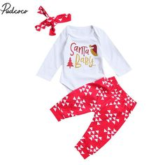 c1b214d1257 Santa Baby Boys Girls Clothing Sets 2017 Newborn Christmas Long Sleeve  Letter Romper Pants Headband 3PCS Infant Outfits