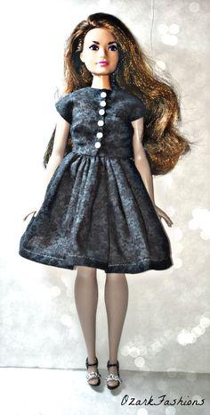 Curvy Barbie Clothes  Black Dress for Curvy by OzarkFashions