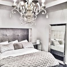 @abarsoe's bedroom gets glamorous texture & reflections with our Nina Bed, Simplicity Mirrored Chest, and Omni Mirror.