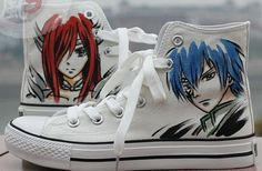 Anime Shoes Fairy Tail Shoes Hand Painted Shoes Paint On Custom Converse Shoes on Etsy, $69.99