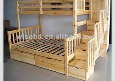 This would be good for the guest room! Love the stairs going up, good storage and likely safer than a ladder--( ) solid pine wood queen size bunk beds Guest room perfect! Bunk Beds With Stairs, Kids Bunk Beds, Bed Stairs, Pallet Bunk Beds, Bunk Beds With Storage, Loft Beds, Queen Size Bunk Beds, Full Size Bunk Beds, Boy Room