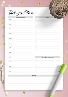 Daily planner with hourly schedule & to-do list - AM/PM time format Day Planner Template, Daily Schedule Template, Schedule Design, List Template, Planner Ideas, Weekly Hourly Planner, Daily Planner Printable, Printable Calendar Template, Daily Calendar