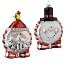 RAZ Imports - Santa & Snowman Glass Disc Ornaments