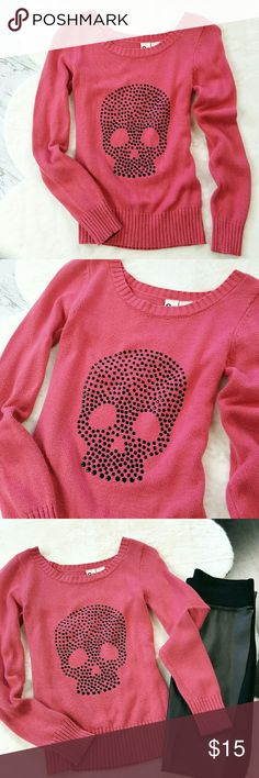 SO | Coral & Black Skull Sweater Coral pink knitted sweater w/ black metallic rhinestone skull design. // In good pre-owned condition. //  Made by: SO Brand  Size: Small  Material: 60% Cotton / 40% Acrylic SO Sweaters Crew & Scoop Necks