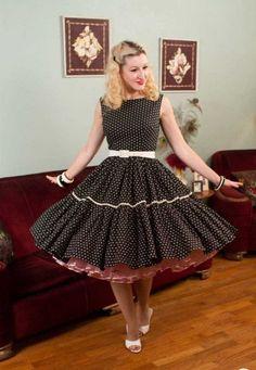 Cute Girl Dresses, Pin Up Dresses, Pretty Dresses, Beautiful Dresses, Vintage 1950s Dresses, Retro Dress, Vintage Skirt, Vintage Outfits, Vestidos Pin Up
