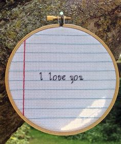 """I love you quote embroidery finished Cross Stitch notepad paper 5"""" by CrossStitchedSass on Etsy https://www.etsy.com/listing/245089194/i-love-you-quote-embroidery-finished"""