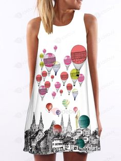 Heißluft -Ballon A-Line Freizeit Minikleid Strandkleid : Tidebuy.com de