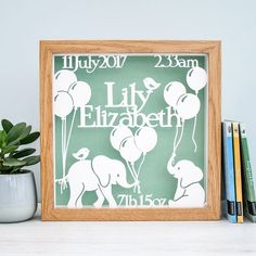 Elephant nursery, personalised baby name frame, new baby gift girl, framed newborn papercut, Elephan Baby Girl Gifts, New Baby Gifts, Frame Crafts, Craft Frames, Name Frame, Elephant Nursery, Kindergarten, Personalized Baby, Quilting Projects