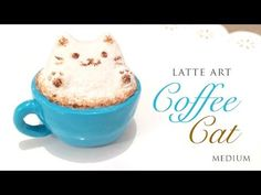 How to Make Realistic Latte Art Cat! - Relaxing Clay Tutorial - YouTube ♥polymer clay, paper clay, water, glue, tools, chalk pastel, gloss varnish, toothpick, craft knife, paint brush, polish pads
