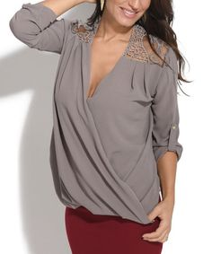 Look what I found on #zulily! Taupe Lace-Yoke Tab-Sleeve Surplice Top #zulilyfinds