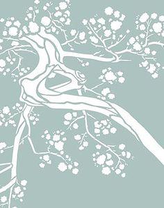 Stencil design ideas product description one swirl for Cherry blossom wall mural stencil