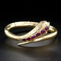 victorian ruby snake bracelet via lang antiques Snake Bracelet, Snake Jewelry, Art Deco Jewelry, Animal Jewelry, Jewelery, Jewelry Bracelets, Fine Jewelry, Jewelry Design, Bangles