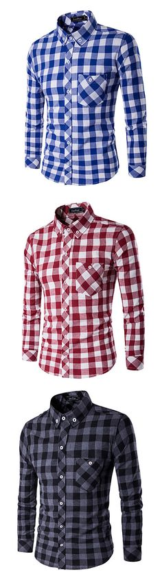 Our favorite classic check print casual long sleeve shirt. Which color matches your clothes? Red, blue or dark grey? Grab one at just €12.09.