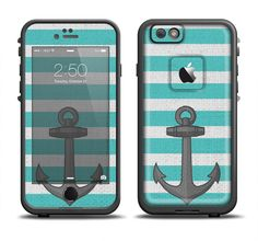 The Teal Stripes with Gray Nautical Anchor Apple iPhone 6 LifeProof Fre Case Skin Set