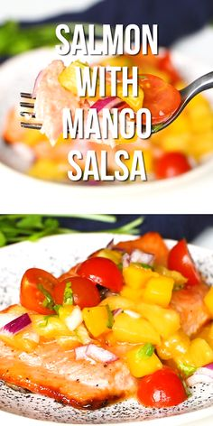 This salmon with mango salsa is one of the easiest recipes you will ever make Honey infused salmon is topped with sweet fresh tropical salsa and is the perfect spring or summer meal summer spring easydinner dinner seafood quick Salmon Recipes, Fish Recipes, Seafood Recipes, Dinner Recipes, Cooking Recipes, Healthy Recipes, Juice Recipes, Recipes With Mango, Seafood Meals