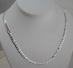 """$31.99 MEN'S AUTHENTIC ITALY 925 STERLING SILVER 20"""" FIGARO CHAIN for this and more VISIT ebay store """"Bella Vita Silver"""""""