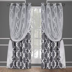 Exclusive Home Alegra Layered Gated Blackout and Sheer Window Curtain Panel Pair with Grommet Top, Charcoal, Gray Sheer Curtain Panels, Sheer Curtains, Gray Curtains, Elegant Curtains, Printed Curtains, Blackout Panels, Blackout Curtains, Home Curtains, Window Curtains