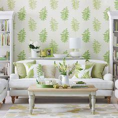 Living room with green fern design wallpaper | Living room decorating | Ideal Home | Housetohome.co.uk