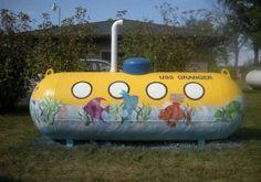 Yellow submarine painted on propane tank Propane Tank Art, Outdoor Projects, Outdoor Ideas, Backyard Ideas, Farm Art, Cool Tanks, Backyard Playground, Tank Design, Yellow Submarine