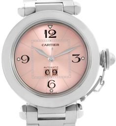 Please click on the picture to go to the detail page.  Cartier Pasha W31058M7  Big Date Pink Dial Medium Automatic Steel Womens Watch