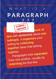 What is a paragraph classroom poster. Classroom Posters, Paragraph, Grade 3, Teacher Resources, Sentences, Ontario, Writing, Frases, Being A Writer