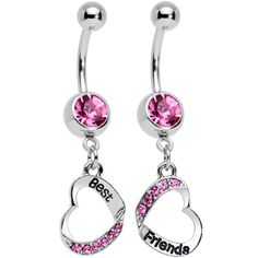 Rosy Pink Gem Best and Friends Matching Heart Dangle Belly Ring Set | Body Candy Body Jewelry