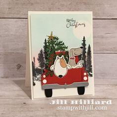 Truckin through the seasons, Stamp with Jill, Spellbinders-FSJ Large Die club Christmas Puppy, Christmas Truck, Christmas Makes, Christmas Cookies, Christmas Ideas, Winter Cards, Holiday Cards, Xmas Cards, Etsy Cards