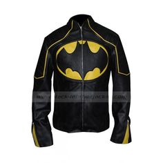Yellow Stripes Batman Jacket | Batman Leather Motorcycle Jacket (2,330 MXN) ❤ liked on Polyvore featuring outerwear, jackets, black jacket, black leather jacket, biker jacket, black motorcycle jacket and genuine leather jacket