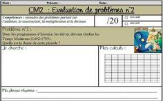 Des évaluations de problèmes portant sur les 4 opérations (CM1 et CM2)