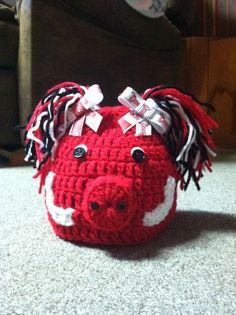 Arkansas Razorback Cheerleader Crochet hat. $18.00, via Etsy.