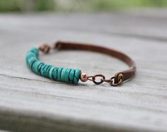 or Womens Rustic Turquoise and Antiqued Copper Boho Bracelet Copper Jewelry, Turquoise Jewelry, Boho Jewelry, Jewelry Crafts, Turquoise Bracelet, Beaded Jewelry, Jewelery, Jewelry Accessories, Handmade Jewelry
