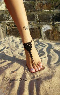 Black Barefoot Sandal Feet thongs Crochet Foot jewelry by Bryleens