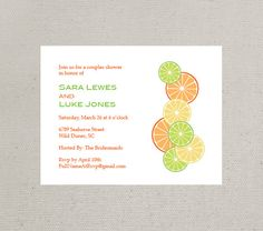 Refreshing Citrus Themed Invitation or Announcement (Set of 10). $19.50, via Etsy.